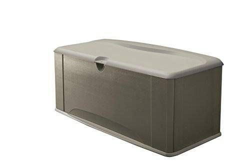cool Rubbermaid Deck Box with Seat, Extra Large, 120 Gal., 16 cu. ft., Olive Steel (5E39)