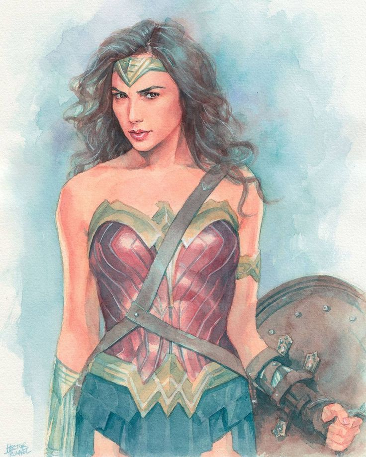 Wonder Woman (Gal Gadot) commission work #watercolor #wonderwoman #galgadot #illustration #fanart #batmanvsuperman #drawing #instaart #arts_help #artfido #art #picoftheday #ilustracion #acuarela #encargo #commission by hectortrunnec