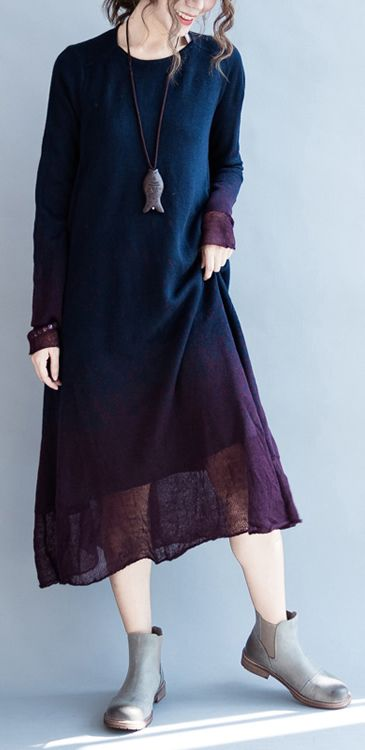 Navy flowy pure cotton maxi dresses long sleeve cotton dress oversize caftans