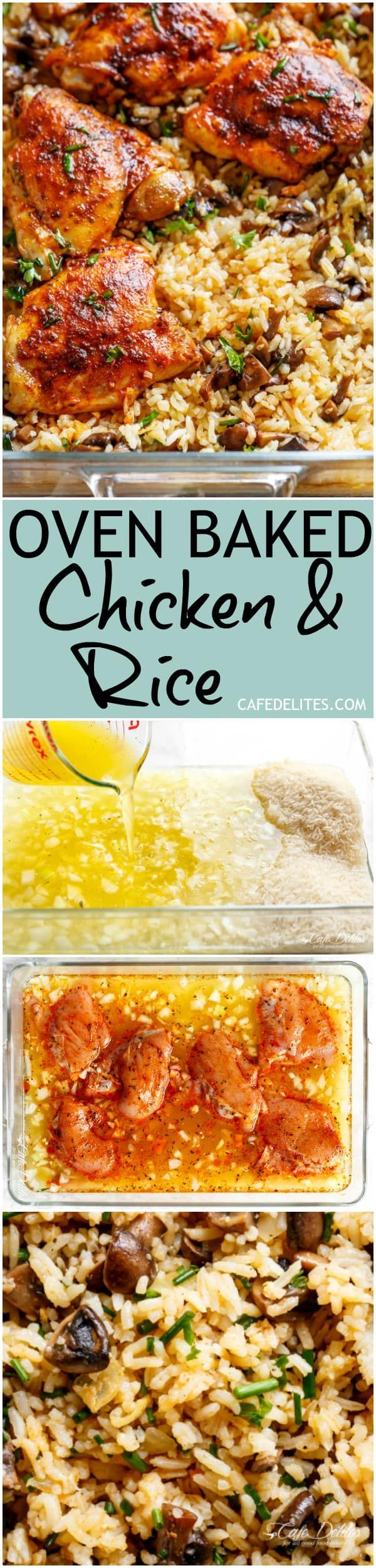 Easy Oven Baked Chicken And Rice With Garlic Butter Mushrooms mixed through is winner of a chicken dinner! #ovenbakedchickenandrice
