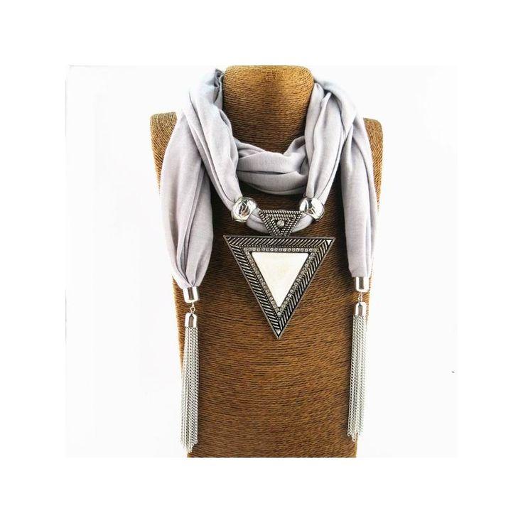 Fashion Women Alloy Square Pendant Scarf Necklace Wrap