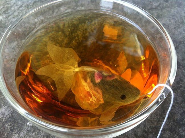 This one is actually kind of beautiful - a goldfish shaped tea-bag swimming in a bowl of tea.