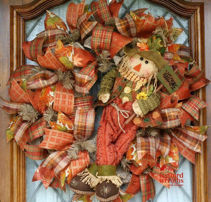 Fall Wreath for Front Door, Scarecrow Wreath, Country Decor, Fall Rustic Wreath, Autumn Wreath, Mesh Wreath by RedbirdWreaths on Etsy