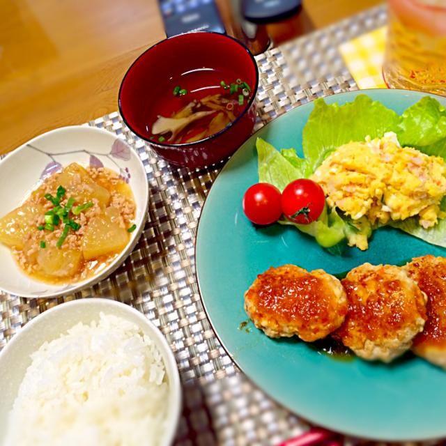 今までで一番美味しく出来たポテサラ\(°Д° )/ - 5件のもぐもぐ - 豆腐ハンバーグ、ポテトサラダ、大根とひき肉の煮物、舞茸のお吸い物♡ by DeviLuna228