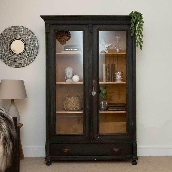 Vintage Cabinet Black Storage Unit Vinterior Vintage Cabinets Black Display Cabinet Glass Cabinet Doors