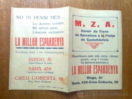 HORARI DE TRENS BARCELONA CASTELLDEFELS HORARIO TRENES PUBLICIDAD LA MILLOR ESPARDENYA M. Z. A. 1934 - Foto 1