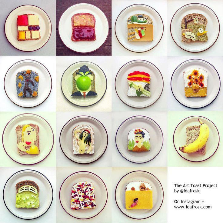 The art toast project by Ida Frosk. Now without help I can name (in order from top to bottom) the works of: Mondrian, Rothko,Münch, Dali, Matisse, Magritte, Münch again, Van Gogh, Picasso, Münch once more, Kahlo, Warhol, Monet, Pollock and Wyeth.  Now this is art.