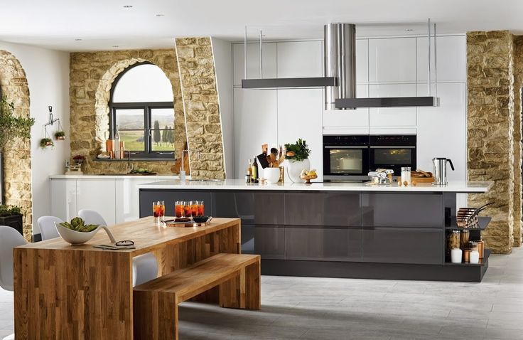 Gloss White Integrated Handle - contemporary flat kitchen from Howdens J...