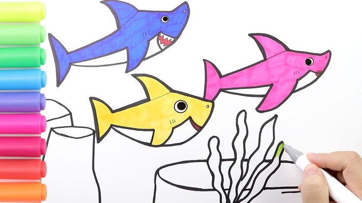 How to draw Pinkfong Baby Shark Family Coloring Baby Shark ...