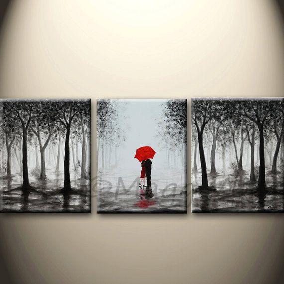 la gran pintura abstracta, arte de acrílico de la pared original, hecho a pedido, besos en la lluvia, negro blanco rojo, amor pareja, 48x20inch, regalo de boda de gran