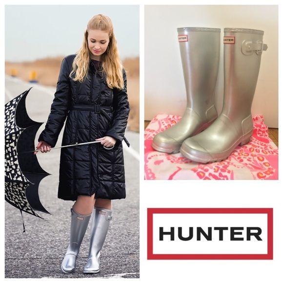 Hunter Boots Shoes - Hunter Metallic Silver Wellies Rain Boots