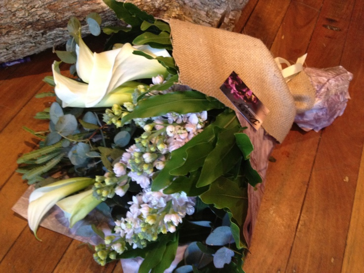 bouquet with delphiniums, calla lilies and gum- dusty miller designs