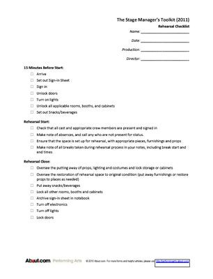 Useful Forms for Stage Managers (from Sign-in Sheets to Checklists)