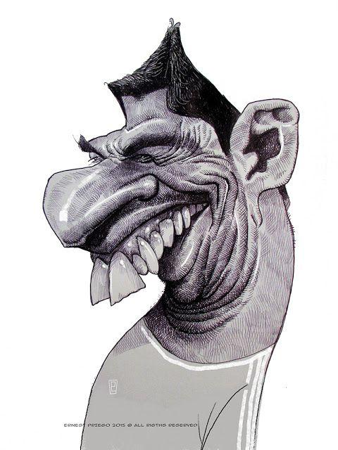 Caricatura del futbolista Luis Suarez, realizada por el artista Ernesto Priego