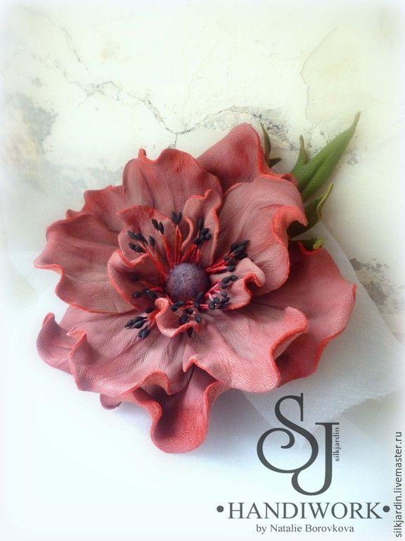 Купить БРОШЬ ИЗ КОЖИ Анемон - розовый, пыльно-розовый, пыльная роза, анемон