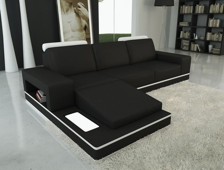 Sectional Sleeper Sofa VGEVB Divani Casa B Black and White Bonded Leather Sectional Sofa Finishing Black