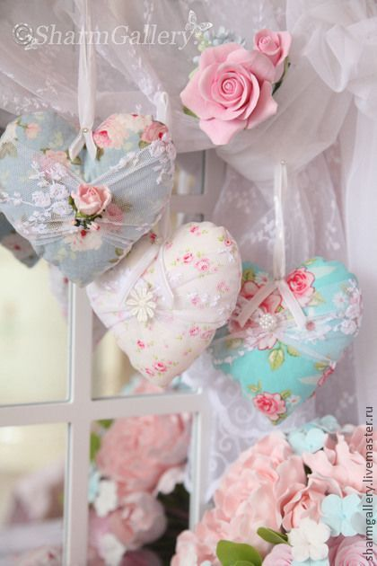 cute idea - sew hearts in gorgeous shabby chic fabric and hand in the window on ribbons