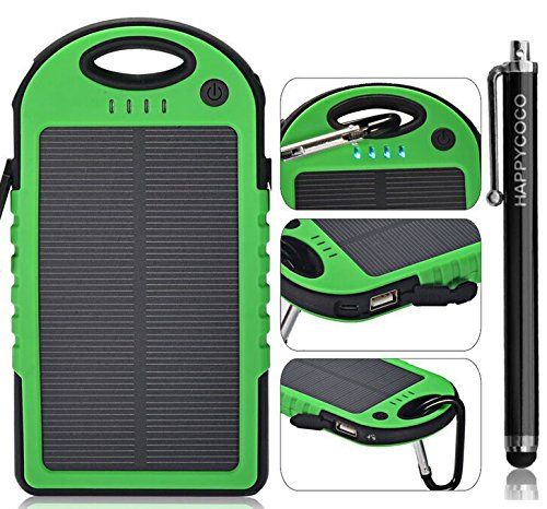COTTEE 5000mAh Dual USB Port Portable Solar Battery Panel – Green