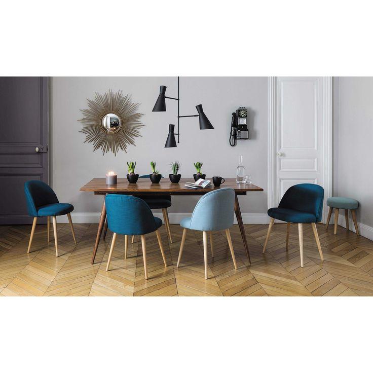 miroir chaises bleu canard et bleu