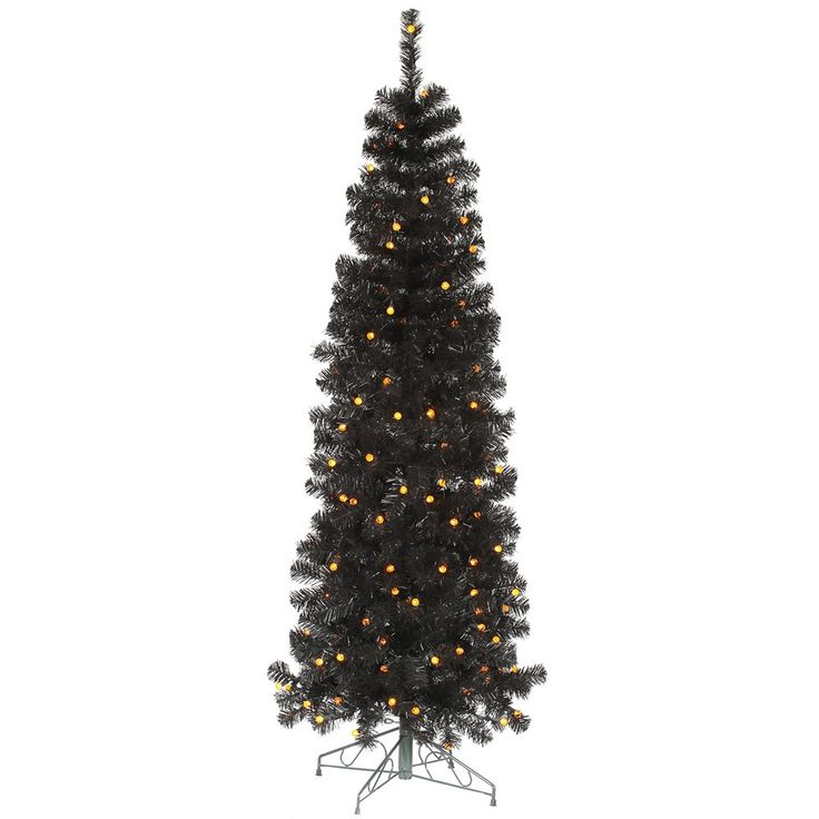 Vickerman 5.5' x 22 Black Pencil Tree with 150 Orange LED Lights (5.5') (Plastic)