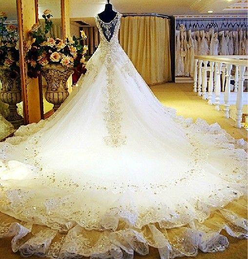 Den nya europeiska versionen av brudens brudklänning egna utrustat lyxiga palats kristall diamant brudklänning