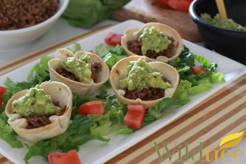 Wildtree's Mini Taco Bowls Recipe, 110 cal per taco bowl! Used Wildtree Taco Seasoning and Guacamole Blend great Super Bowl party food or appetizer.