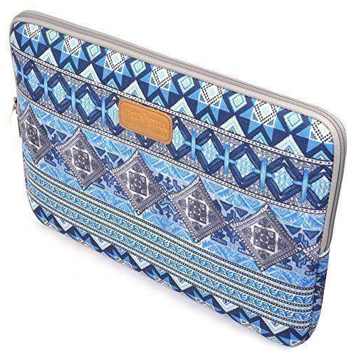 Case Star Bohemian Style Canvas Laptop Sleeve Zipper Bag for Apple Macbook Pro Retina Macbook Air 13 /13.3-Inch, HP Dell Toshiba Chromebook 2 ASUS Sony Lenovo Samsung (Blue Lattice)