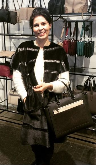 Danish actress Cecilie Stenspil with DECADENT 263 working bag with clutch