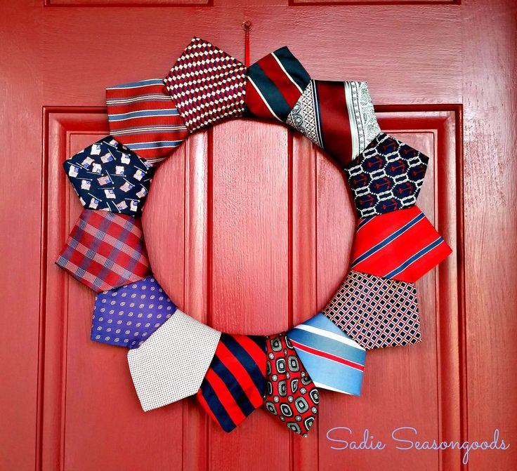 Thrifted Necktie Patriotic Wreath