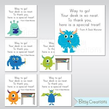 Teachers! You'll love these Desk Monster incentive cards! Help your students keep a clean desk when they know that a Desk Monster could stop by at any time! Pair the cards with a small reward and your students will love to keep a clean desk. This digital file measures 8.5 x 11 inches.