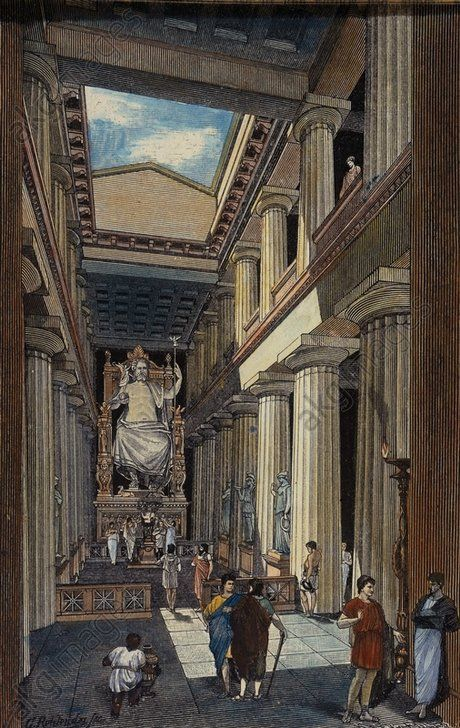 """Interior of the Temple with Phidias' Statue of Zeus - INTERIOR OF THE TEMPLE WITH PHIDIAS' STATUE OF ZEUSOlympia (Greece), Temple of Zeus (built by Libon of Elis, 465 BC).  """"Interior of the Temple with Phidias' Statue of Zeus"""". (Reconstruction).  Woodcut by Georg Rehlender (born 1845) From: Oskar Jäger, Weltgeschichte, vol. 1 Geschichte des Altertums, 6th edition Bielefeld and Leipzig 1903."""