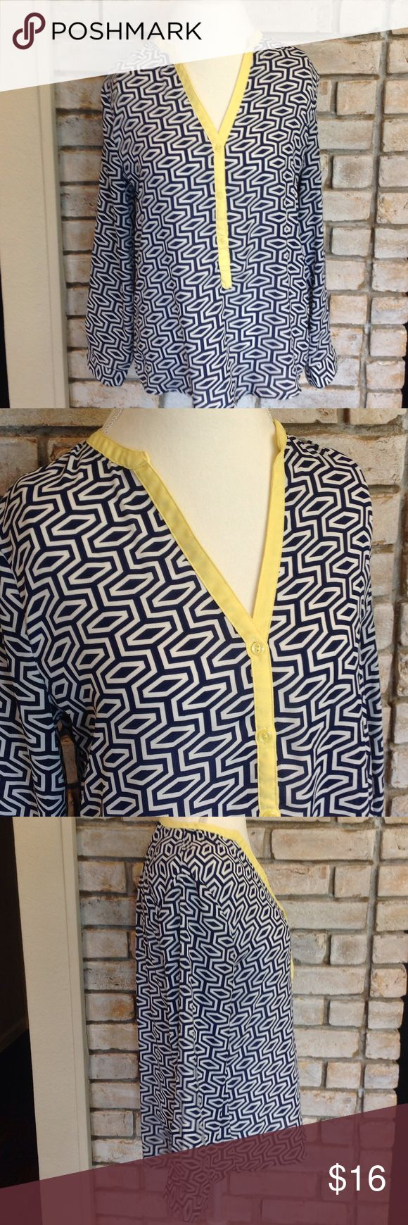 Beautiful Blue Geometric Blouse In perfect condition. Beautiful blue and white blouse with yellow accent. No holes or stains. Blouse measures 23 inches in the front and 27 inches in the back. 100% polyester. Francesca's Collections Tops Blouses