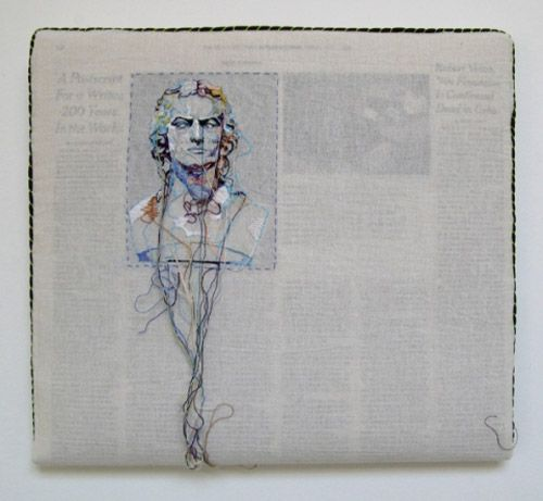 newspaper embroidery art....stunning and inspired. i want this on my wall.