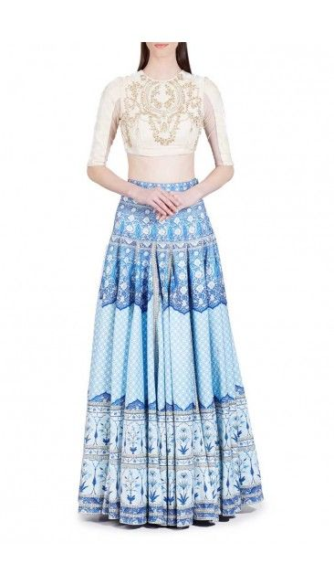Andaaz Fashion - white and Blue Printed Lehenga and Embroidered choli Online    http://www.andaazfashion.com.my/womens/lehenga-choli/printed