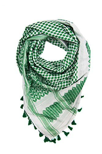 """Hirbawi Premium Arabic Scarf 100% Cotton Shemagh Keffiyeh 47""""x47"""" Arab Scarf (Green White)). ★ AUTHENTIC PATTERN FROM THE ORIGINAL CREATORS but in a new Green and White color combination . As old school as it gets. Regardless of why you want to wear one, be it a bold fashion statement or a sign of solidarity, this arab scarf is the one to get. It is made in a city of Hebron in Palestine with much love. This is the real deal!. ★ 100% OF COMFORTABLE AND SOFT COTTON. This Keffiyeh aka Hatta is…"""