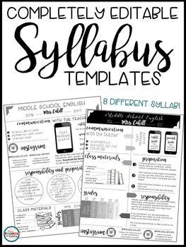 Syllabus Editable {8 Different Editable Syllabus