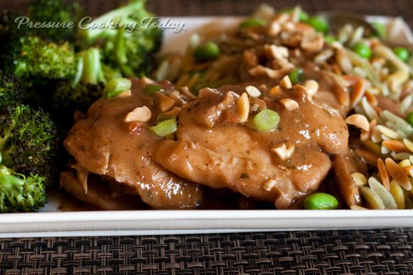THM (S) Chicken Thighs in the InstaPot with thai peanut sauce (use a bit of gluccie instead of cornstarch)
