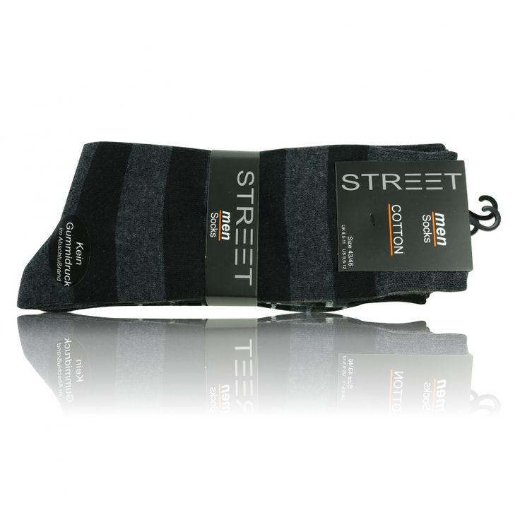 Herren Socken ohne Gummidruck modern grey - Block-n Stripes - 5 Paar