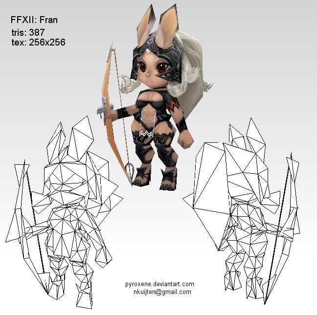 Lowpoly Fran wireframe by Pyroxene.deviantart.com on @deviantART