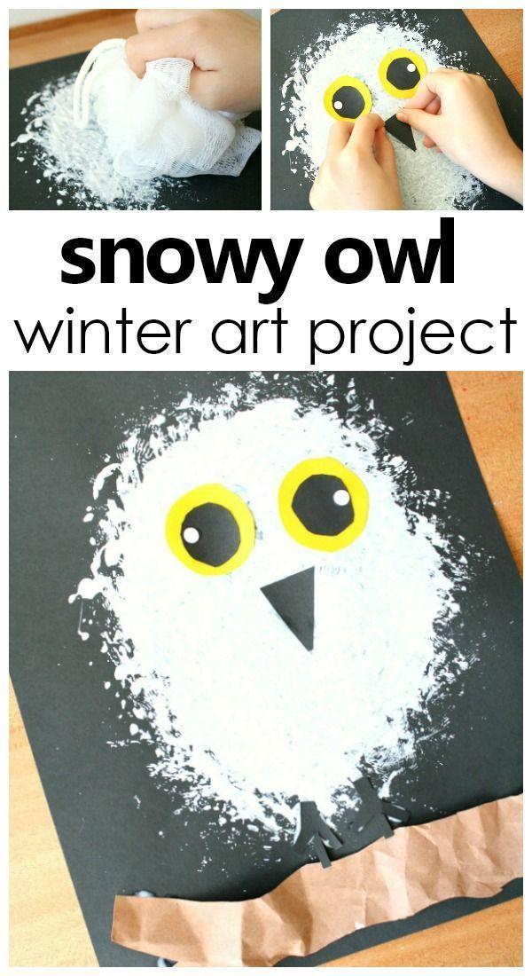 Snowy Owl Winter Art Project für Kinder #artforki…