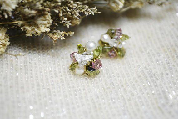 Flower earrings Peridot earrings White topaz earrings Pearl earrings Crystal earrings Mix up jewelry Wire wrapped jewelry Gemstone earrings