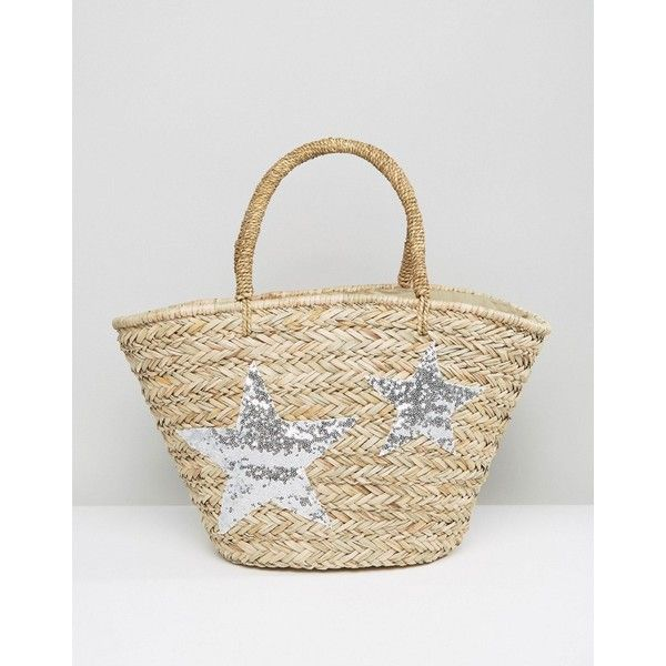 Chateau Silver Star Woven Beach Bag (575 ARS) ❤ liked on Polyvore featuring bags, handbags, beige, braided purse, zip top bag, silver handbags, woven purse and woven handbags