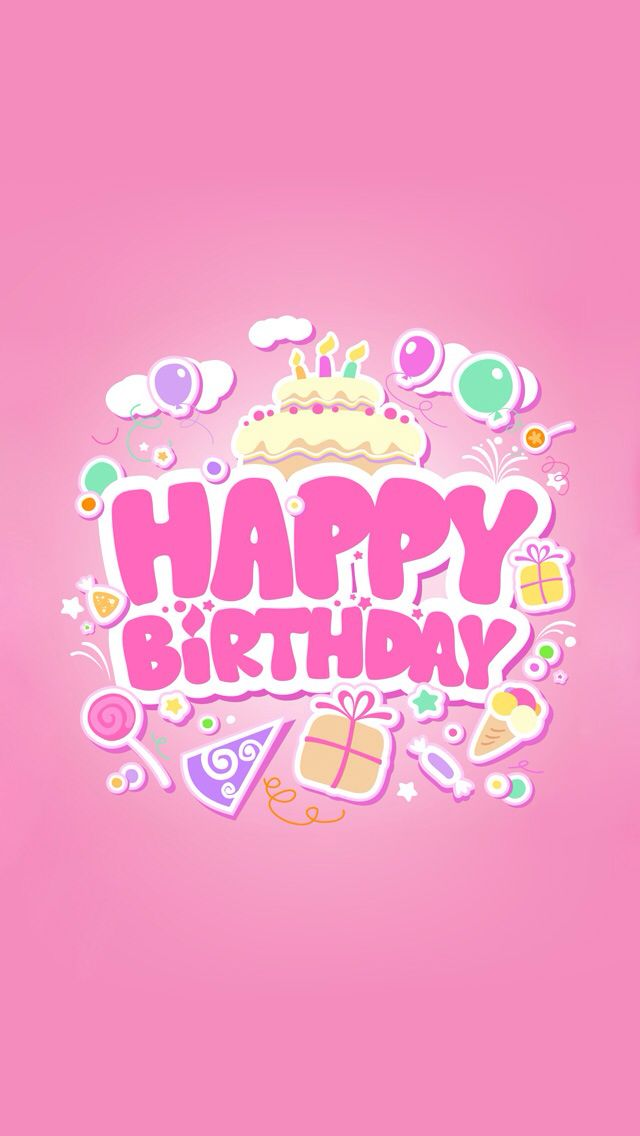Stock Vector : Happy Birthday Pink Card For Girls.