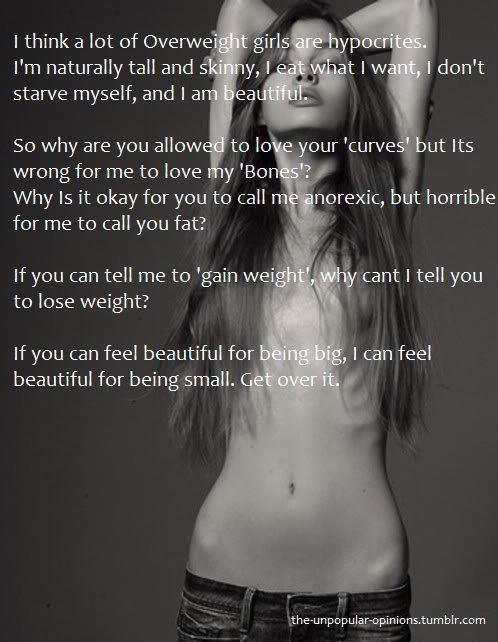 I agree 100 percent. Do not judge me for working hard for my body. I am damn proud to be a below average American weighing woman. I am naturally skinny but I choose to be healthy and diet and exercise right!