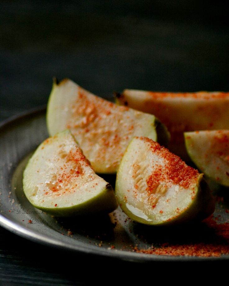 Guava with a touch of salt and chilly powder