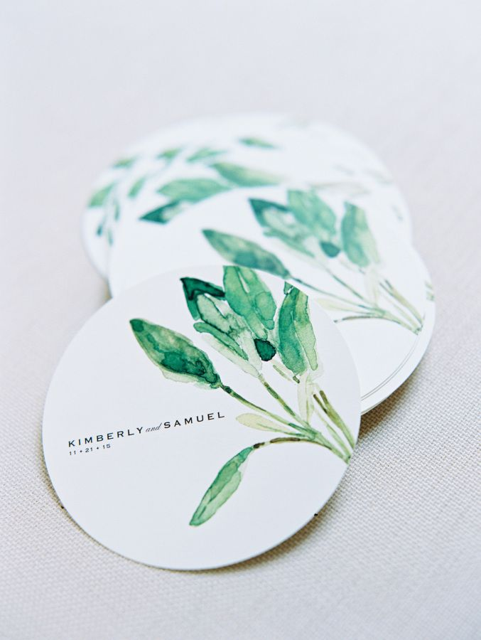 Watercolor printed coasters: http://www.stylemepretty.com/2016/03/03/modern-downtown-austin-wedding-with-17-stylish-bridesmaids/   Photography: Ryan Ray Photography -http://ryanrayphoto.com/