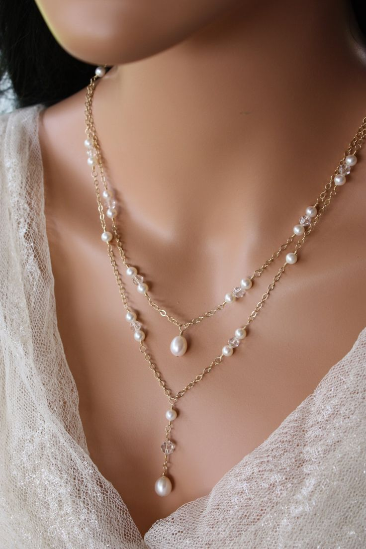 BACK  DROP  NECKLACE  Double Stranded Gold Chain Design with Pearl and Crystal Accents, Bridal Necklace, Wedding Necklace, Gold Fill Chain by LalleBridalJewelry on Etsy