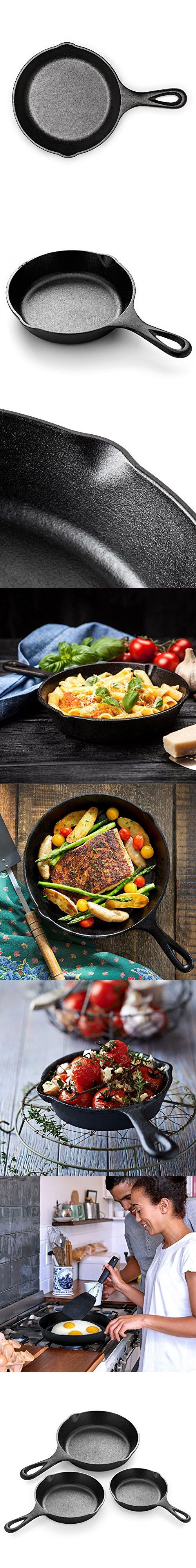 "Simple Chef Cast Iron Skillet 3-Piece Set - Best Heavy-Duty Professional Restaurant Chef Quality Pre-Seasoned Pan Cookware Set - 10"", 8"", 6"" Pans - Great For Frying, Saute, Cooking, Pizza & More"