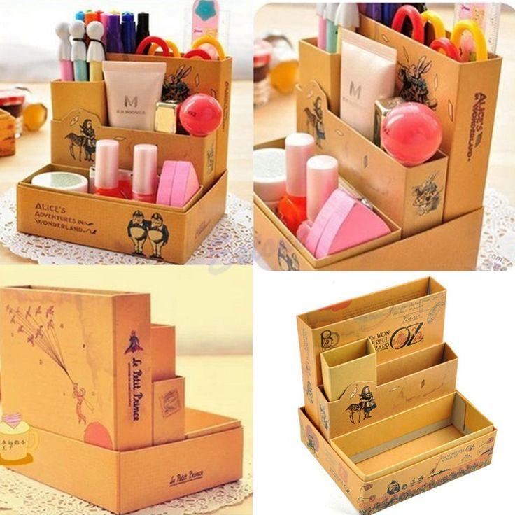 frete grátis placa de papel diy conto de fadas caixa de armazenamento papelaria mesa composiÇÃo cosmética organizador do em Ciaxas de armazenamento & lixo de Casa & jardim no AliExpress.com | Alibaba Group
