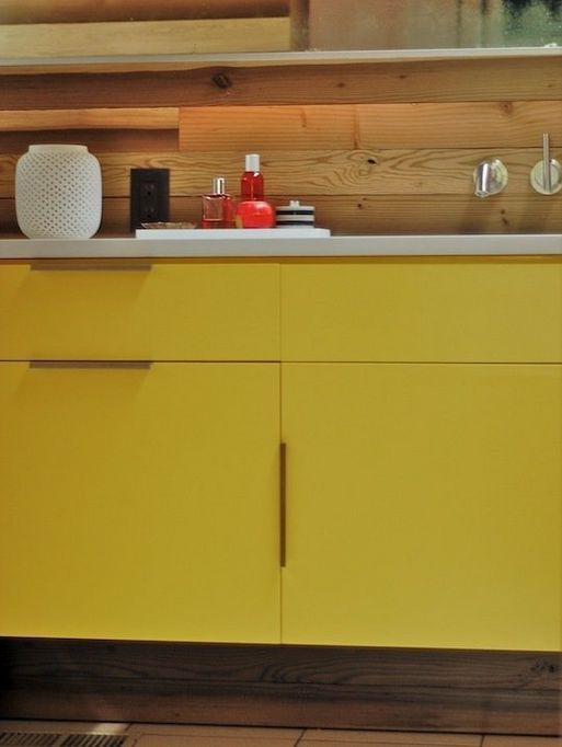 Bright yellow bathroom cabinets bathroom remodel ideas for Bright yellow bathroom ideas